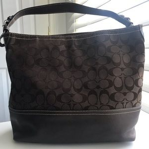 Coach print  fabric and leather bag